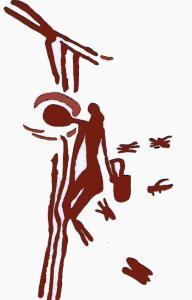 "More details The ""Man of Bicorp"" holding onto lianas to gather honey from a beehive as depicted on an 8000-year-old cave painting near Valencia, Spain"