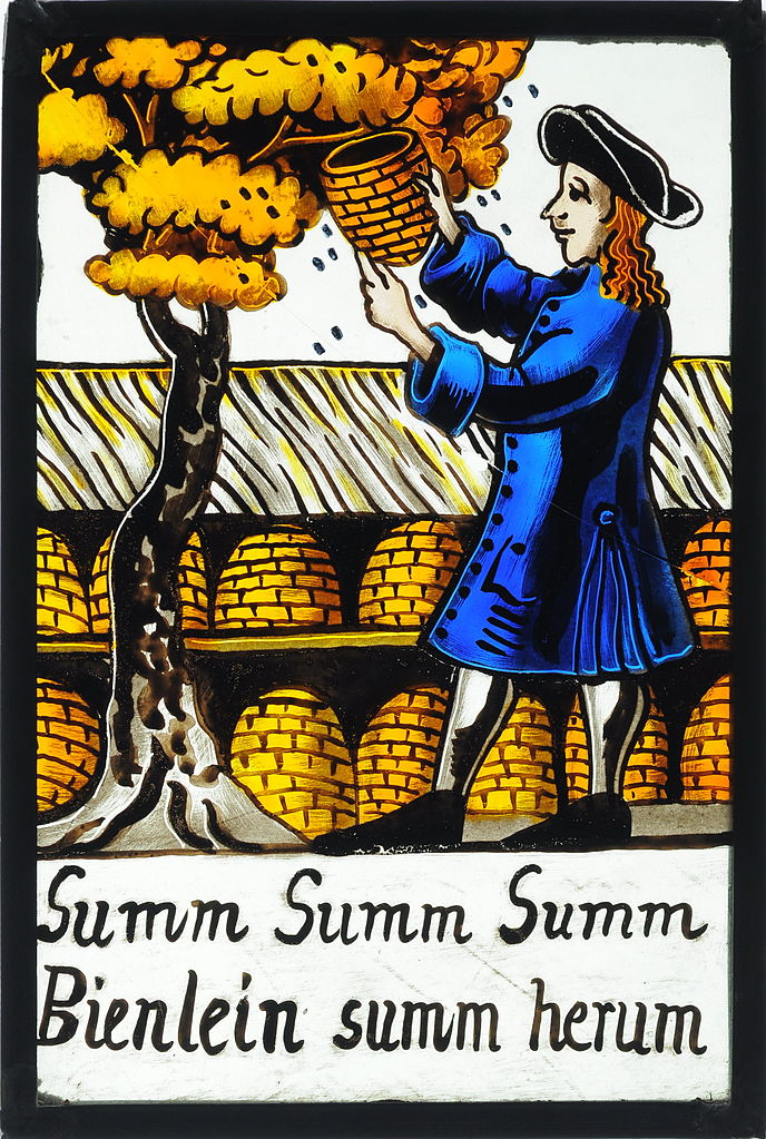 Beekeeper on an old German stained glass painting. Underneath the refrain of a children's song by Hoffmann von Fallersleben